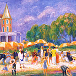 William James Glackens - beach umbrellas at blue point 1916