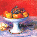 William James Glackens - fruit and a white rose c1930s