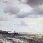 Carl Blechen - Sea coast with aground ship
