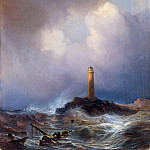 Adolph von Menzel - Lighthouse on the Coast of Bretagne