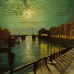 John Atkinson Grimshaw - Whitby Harbor by Moonlight