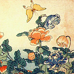 Hokusai - poppies and yellow butterfly 1833-4