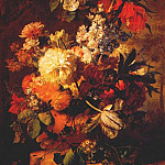 Jan Van Huysum - flowers on ledge in landscape 1726