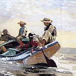 Winslow Homer - Sailing the catboat, prob.1875, Watercolor and gouache