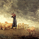 Winslow Homer - Shepherdess Tending Sheep