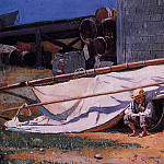 Winslow Homer - Boy in a Boatyard aka Boy with Barrels