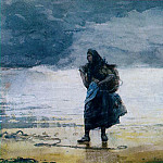 Winslow Homer - Fisherwoman, prob.1882, Watercolor, 36.8x53.3 cm, Mr.
