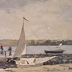 Winslow Homer - A Sloop at a Wharf Gloucester