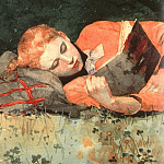 Winslow Homer - The New Novel, detail, 1877, watercolor, Museum of Fin