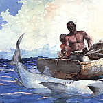 Winslow Homer - Shark Fishing, 1885, watercolor, private collection.
