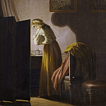 David von Krafft - A Woman Picking Fleas by Candlelight