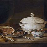 Still Life with Ham on a Pewter Dish, a Faience Set and a Bowl of Gooseberries and Red Currants