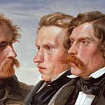 Karl Friedrich Lessing - The Painters Karl Friedrich Lessing, Carl Sohn and Theodor Hildebrandt