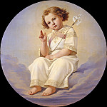 The Christ child sitting on clouds