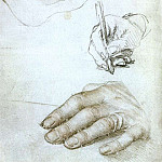 Hans The Younger Holbein - Studies of the Hands of Erasmus of Rotterdam