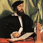 Hans The Younger Holbein - Unknown Gentleman with Music Books and Lute