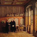 Luther room in Wittenberg. Luther and Melanchthon in conversation