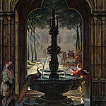 Johann Anton Ramboux - Courtyard with a fountain