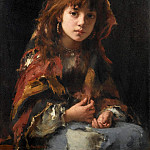 Girl with colorful shawl, Alexei Alexeivich Harlamoff