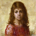 Portrait Of A Young Girl Against A Yellow Background, Alexei Alexeivich Harlamoff