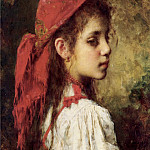 Alexei Alexeivich Harlamoff - Portrait of a Young Girl in A Red Kerchief