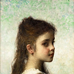 Alexei Alexeivich Harlamoff - Young girl before a blue background