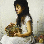 Young girl with grapes, Alexei Alexeivich Harlamoff