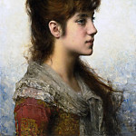 Alexei Alexeivich Harlamoff - Portrait Of a Young Girl In Profile