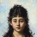 Alexei Alexeivich Harlamoff - Portrait of a young Girl wearing a Necklace