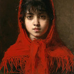 Young girl in a red shawl, Alexei Alexeivich Harlamoff