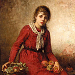 Girl with fruit, Alexei Alexeivich Harlamoff