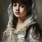 Portrait Of a Young Girl Wearing a White Veil, Alexei Alexeivich Harlamoff