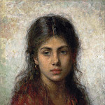Girl with a red shawl, Alexei Alexeivich Harlamoff