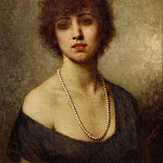 Portrait of a young lady wearing pearls, Alexei Alexeivich Harlamoff