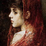 Portrait of a young girl with a red veil, Alexei Alexeivich Harlamoff