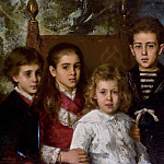 Portrait of four children from the second marriage of Paul Pavlovich Demidoff, 2nd Prince of San Donato , Avrora , Anatoli , Maria and Pavel , Alexei Alexeivich Harlamoff