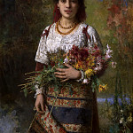 Gypsy girl with flowers, Alexei Alexeivich Harlamoff