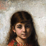 Girl with coral necklace and shawl, Alexei Alexeivich Harlamoff