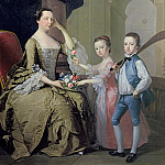 Thomas Hudson - Mrs Matthew Mitchell and her Children, Matthew and Anne