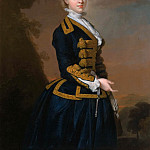 Portrait of Nancy Fortescue, Wearing a Dark Blue Riding Habit with Gold Frogging and Cap, Thomas Hudson