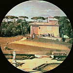 Raphaels casino seen from Villa Borghese in Rome, Jean Auguste Dominique Ingres