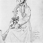Ingres_Mademoiselle_Henriette_Ursule_Claire_Thevenin_and_her_dog_Trim, Jean Auguste Dominique Ingres