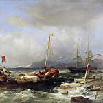 Friedrich Loos - Greek sea with sailing ships