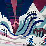 Alexander Kanoldt - Snow mountains with skiers
