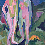 Two female nudes in landscape