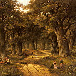 Koekkoek_Hendrik_Barend_Peasants_Preparing_A_Meal_Near_A_Wooded_Path, Баренд Корнелис Куккук