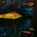 Paul Klee - The goldfish, 1925, Oil and watercolor on paper, mounte