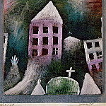 Paul Klee - Destroyed place, 1920, Oil on paper mounted on gray-blu
