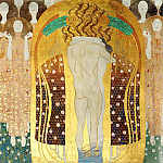 Beethoven Frieze; The Arts, Choir of Angels, Embracing Couple, Gustav Klimt