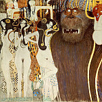 Gustav Klimt - The Beethoven Frieze hostile forces, the three Gorgons